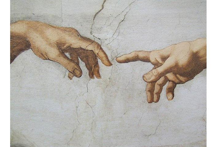 """Фреска Микеланджело """"Сотворение Адама"""""""