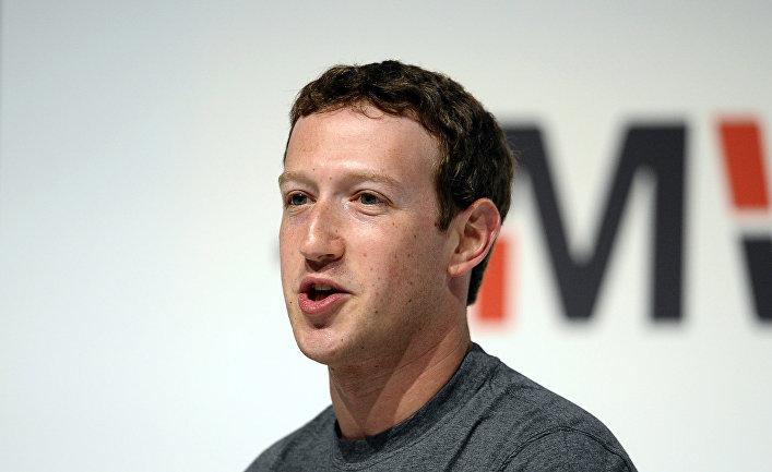 Основатель Facebook Марк Цукерберг на Международном мобильном конгрессе (MWC) в Барселоне