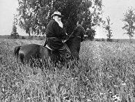 Писатель Лев Толстой на прогулке верхом