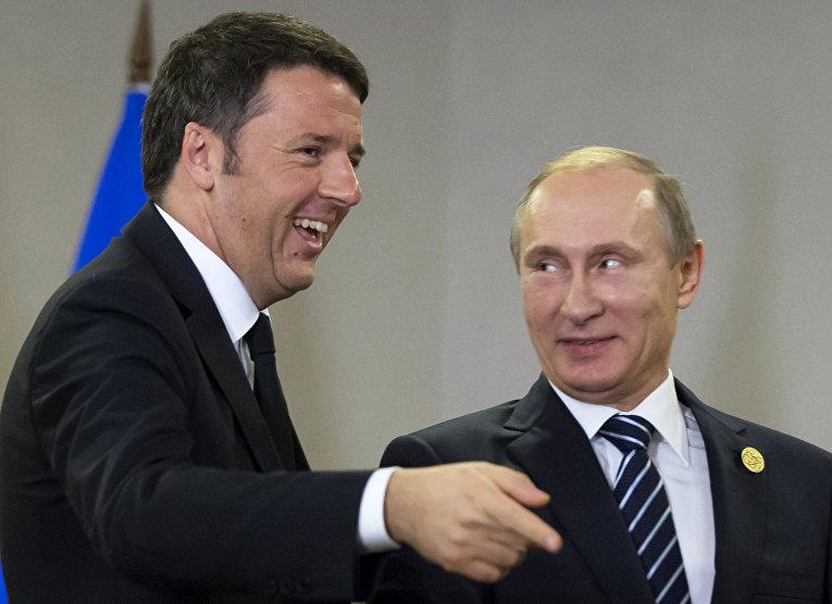 Президент России Владимир Путин и премьер-министр Италии Маттео Ренци на саммите G-20 в Турции