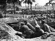 Маскировка позиции пулемета «Максим», Первая мировая война, 1915 год