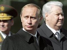 Путин и Ельцин на Красной площади