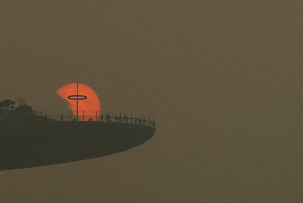 Густой смог вокруг смотровой площадки отеля Marina Bay Sands в Сингапуре