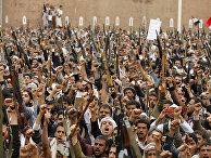 Протест мусульман-шиитов против авиударов в Сане, Йемен