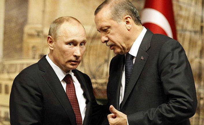 Президент России Владимир Путин и премьер-министр Турции Тайип Эрдоган