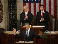Барак Обама выступает перед Конгрессом с посланием о положении дел в стране