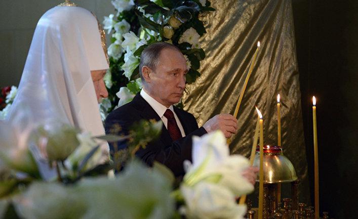 Владимир Путин и патриарх Кирилл на выставке-форуме «Православная Русь. Моя история. От великих потрясений к Великой Победе»