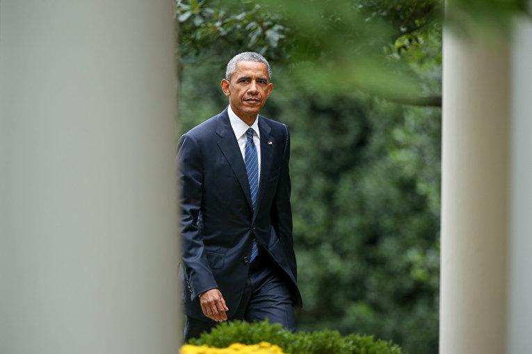 Президент США Барак Обама в Розовом саду Белого дома