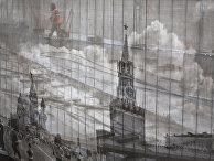 Фотография Красной площади загораживает строительные работы в Александровском саду