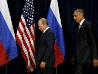 Российский президент Владимир Путин и американский лидер Барак Обама на сессии ГА ООН