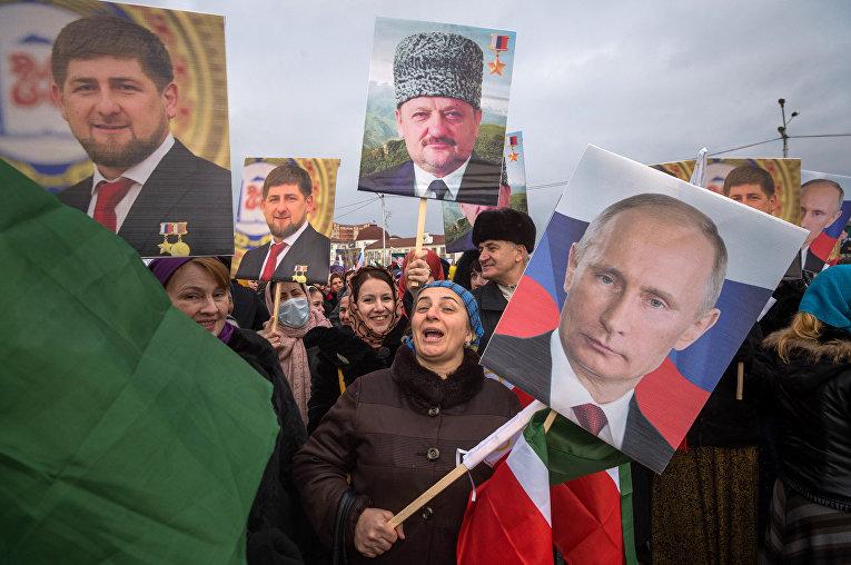 Демонстрация в поддержку Рамзана Кадырова в Грозном