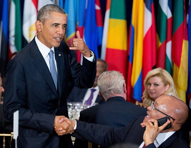 Барак Обама и Джейкоб Зума на завтраке у генерального секретаря ООН Пан Ги Муна