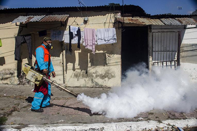 Сотрудник городских служб распыляет инсектициды для борьбы с комарами вида Аedes Аegypti, переносящих вирус Зика в Сальвадоре