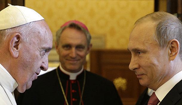 Папа Римский Франциск и президент России Владимир Путин в Ватикане