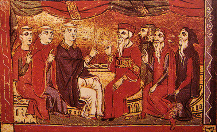 Католики и восточные христиане. Миниатюра XIII века