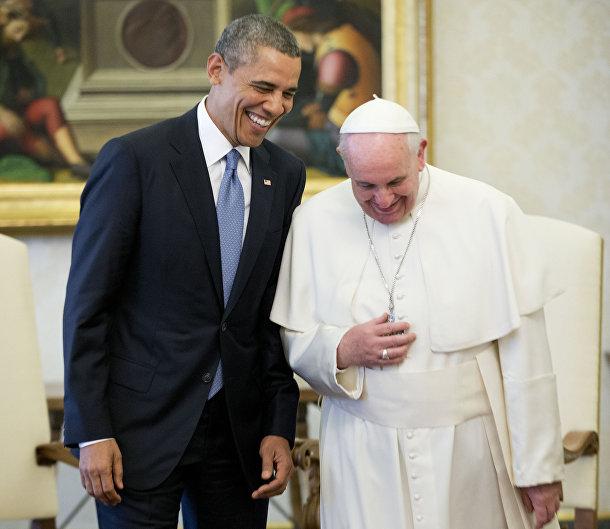 Папа Римский Франциск и президент США Барак Обама в Ватикане