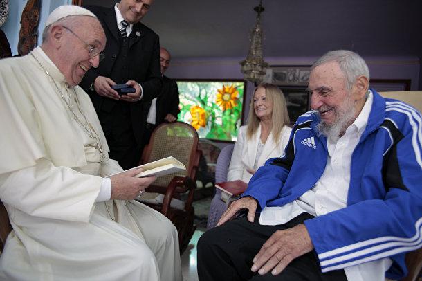 Фидель Кастро и Папа Римский Франциск в Гаване, Куба