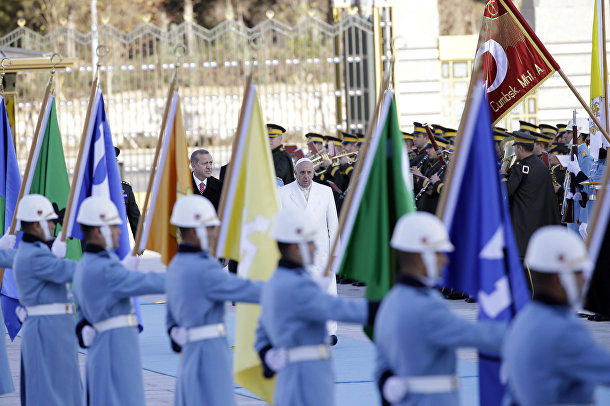 Папа Римский Франциск в гостях у президента Турции Реджепа Тайип Эрдогана