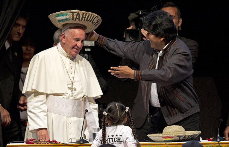 Папа Римский Франциск в гостях у президента Боливии Эво Моралеса