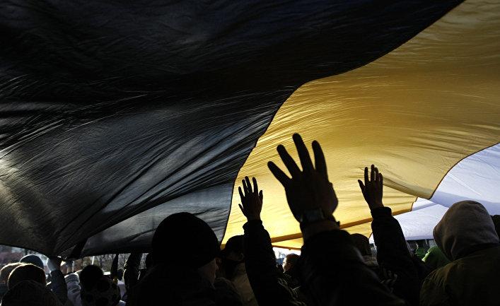 """Участники акции """"Русский марш"""" в столичном районе Люблино"""