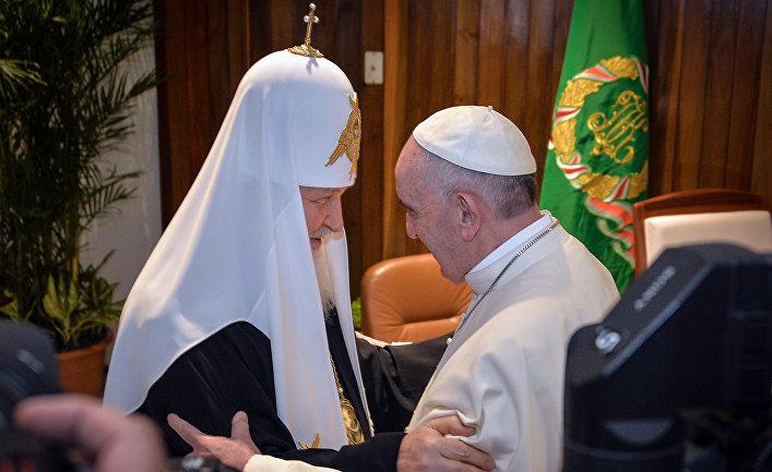 Патриарх Московский и всея Руси Кирилл и папа Римский Франциск во время встречи в Гаване. 12 февраля 2016