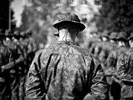 Финский солдат на церемонии открытия учений Saber Strike 2014 в Латвии