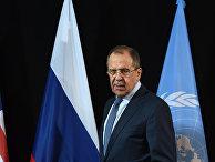 Министр иностранных дел России Сергей Лавров на пресс-конференции в Мюнхене, Германия. 12 февраля 2016