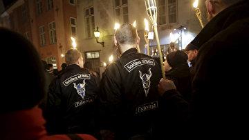 Эстонские «Солдаты Одина» на марше протеста против мигрантов