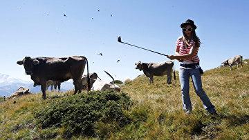 Женщина играет в гольф коровьим навозом