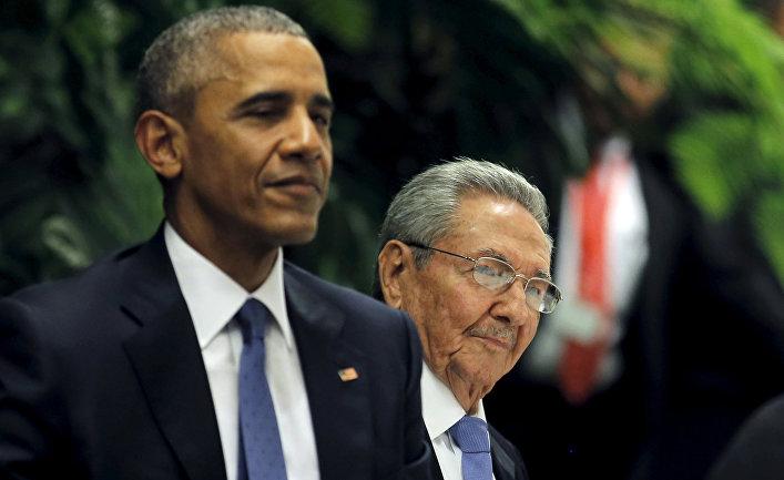 Президент США Барак Обама и президент Кубы Рауль Кастро