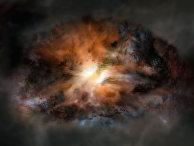 Так художник представил себе самую яркую галактику Вселенной, окруженную пылью