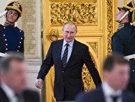 Президент России Владимир Путин перед началом заседания Российского организационного комитета  «Победа» в Кремле