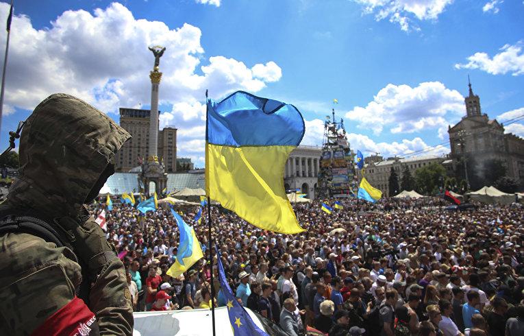 Акция протеста на Майдане, требующая прекращение перемирия на Востоке Украины