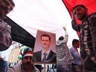 Многотысячный митинг в поддержку президента страны Башара Асада