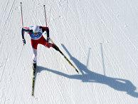 Петтер Нортуг (Норвегия) на дистанции эстафеты в соревнованиях по лыжным гонкам среди мужчин на XXII зимних Олимпийских играх в Сочи
