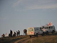 «Красный крест» на линии разграничения в Нагорном Карабахе, где ведется поиск тел погибших в столкновениях