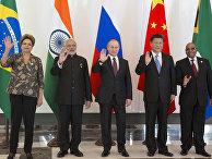 Дилма Русеф, Нарендра Моди, Владимир Путин, Си Цзиньпин, Джейкоб Зума на неформальном саммите БРИКС в рамках саммита G20 в Анталье