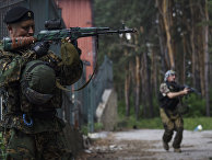 Ополченцы в Марьинке Донецкой области