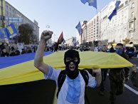 Активисты партии «Свобода» и «Правого сектора» во время демонстрации в Киеве