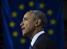 Президент США Барак Обама во время выступления в Ганновере, Германия