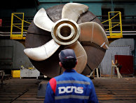 Винт подводной лодки Scorpen на производственной площадке французской оборонной компании DCNS