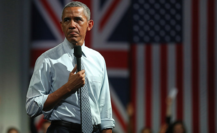 Барак Обама во время выступления о последствиях выхода Великобритания из ЕС в Лондоне
