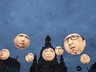 Шары с портретами лидеров G7 накануне встречи министров финансов G7 в Дрездене