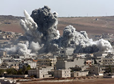 Авиаудары коалиции во главе с США по позициям боевиков «Исламского государства» в Кобани