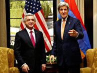 Госсекретарь США Джон Керри и президент Армении Серж Саркисян в Вене