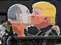 Граффити на одной из стен в Старом городе в Вильнюсе