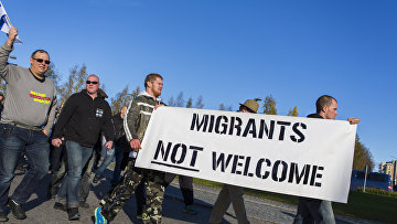 Антимиграционный митинг в городе Торнеа на границе Швеции и Финляндии