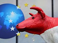 Памятник корове установленный перед зданием Европейской Комиссии фермеров в Брюсселе