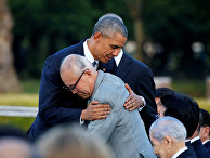 Президент США Барак Обама и японец Сигэаки Мори, переживший атомную бомбардировку