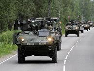 Передислокация колонны военной техники США во время учений Dragoon Ride II. 6 июня 2016
